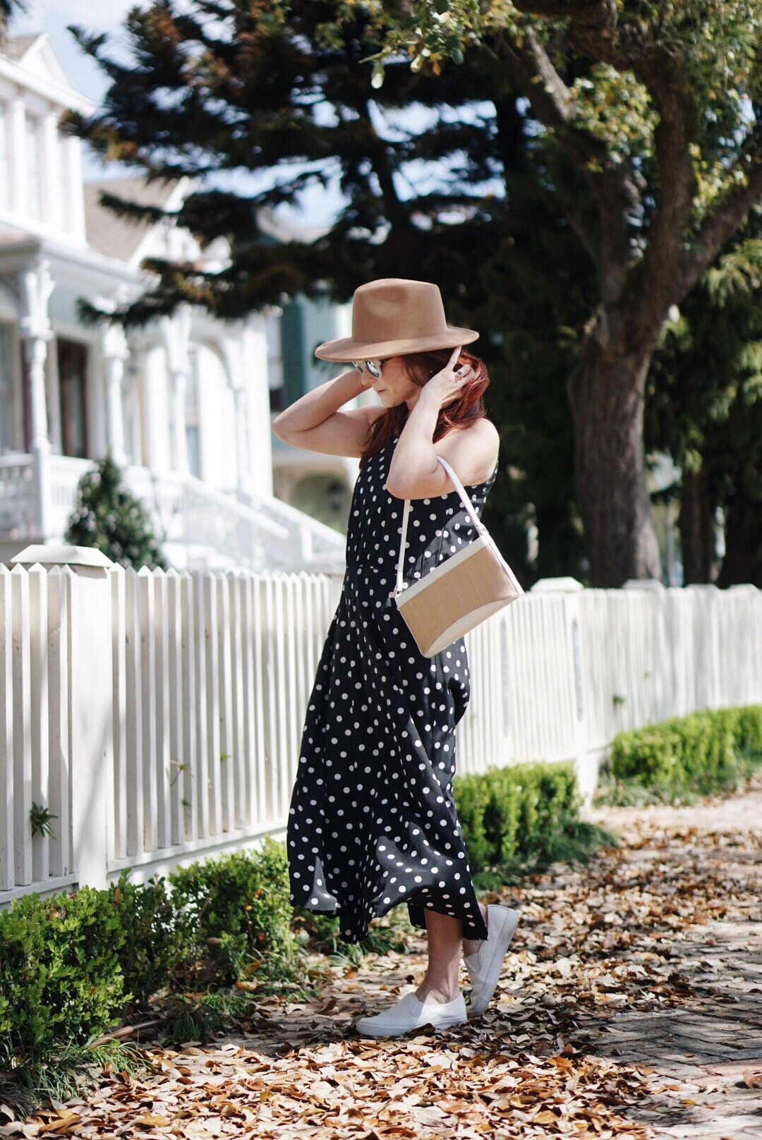 straw bags, dresses with sneakers, polka dot outfits, brown fedora hat, Galveston Island