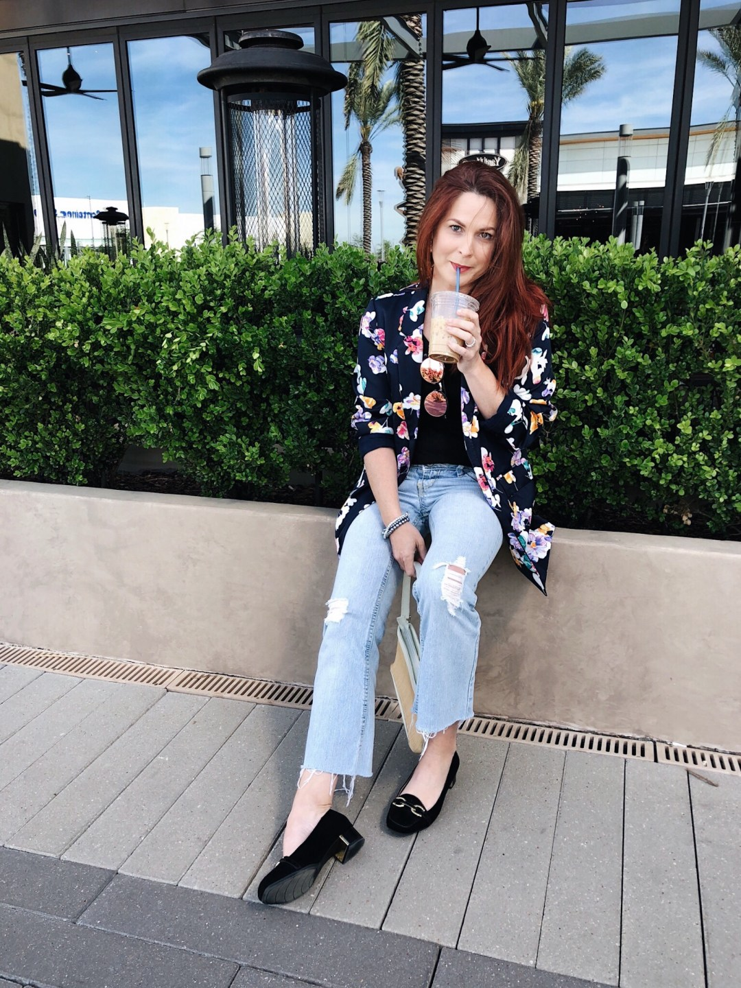 floral blazer, blazer outfits, distressed flares, light wash jean outfits, black loafers, coffee breaks, red hair ideas, long hair styles, basket bag