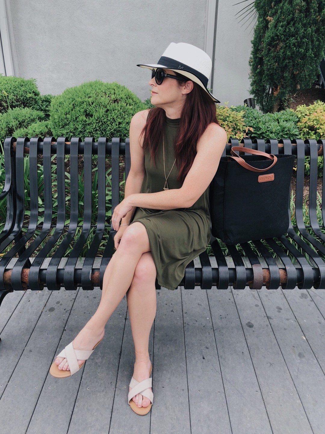 swing dress, olive green dress, beige cross sandals, sun hat, black sunglasses, black tote