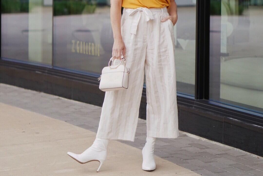 target style, cream handbags, culotte outfits, paper bag waist, white booties, sock booties, comfortable style