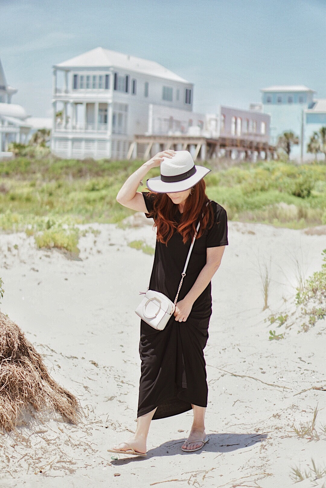 sandy beaches, summer days, struggles as a stay at home mom, black maxi dress, beach style,