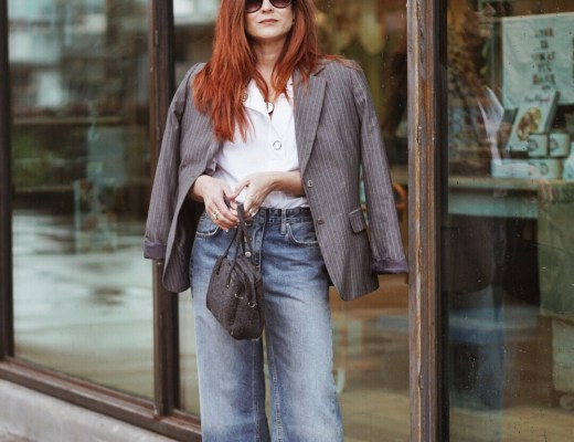 gey blazer outfits, pinstripes, wide leg denim outfit ideas, outfits with white boots, classic style