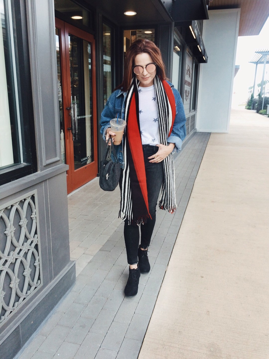 outfits with striped scarf, fall fashion, casual style ideas, denim on denim outfits, ho to wear denim on denim