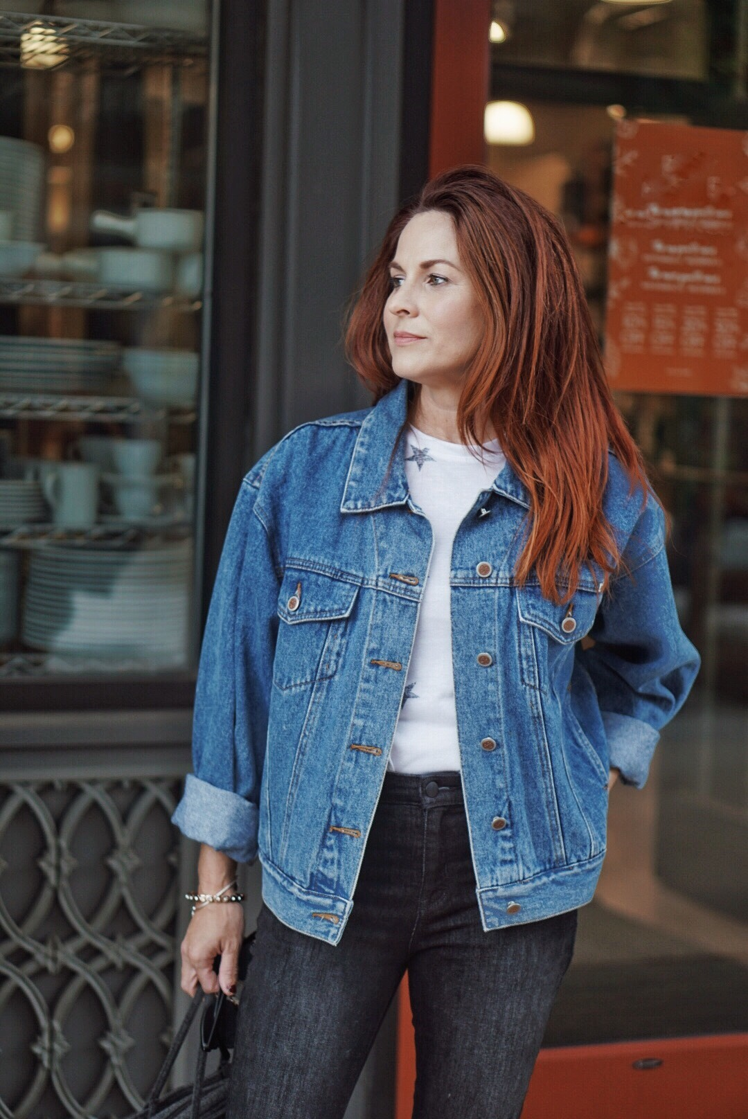 casual outfit ideas, blue jean jacket outfits, how to style denim with denim