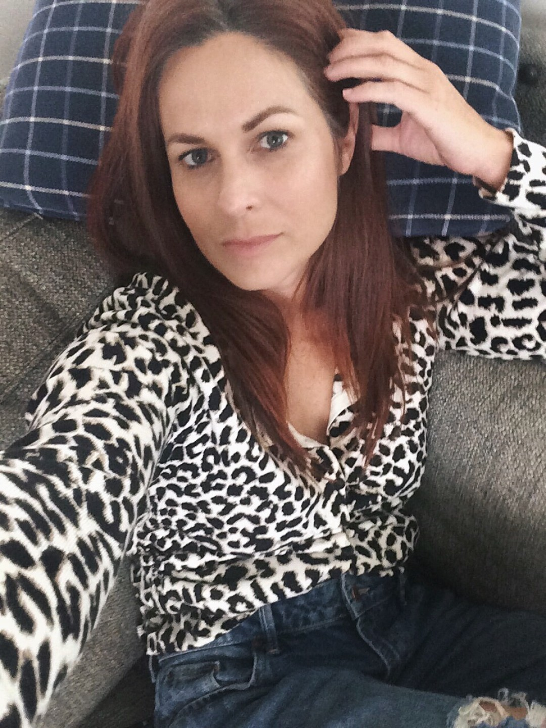 leopard cardigan, girlfriend jeans, couch day, recharging