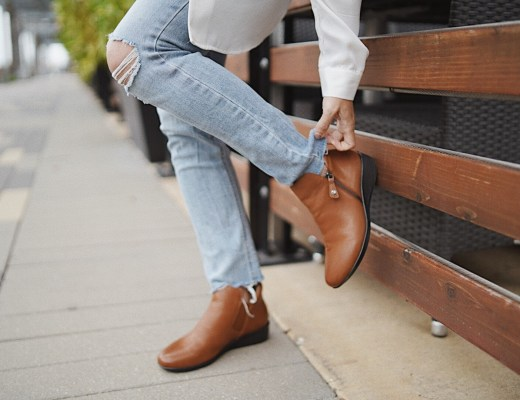 comfortable footwear, boots that don't hurt, cognac bootie outfits, distressed denim outfit ideas, how to style cognac boots