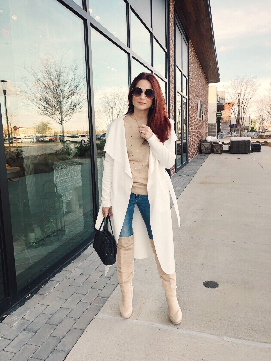boot outfits, over the knee boot inspiration, blush sweaters, boots with jeans
