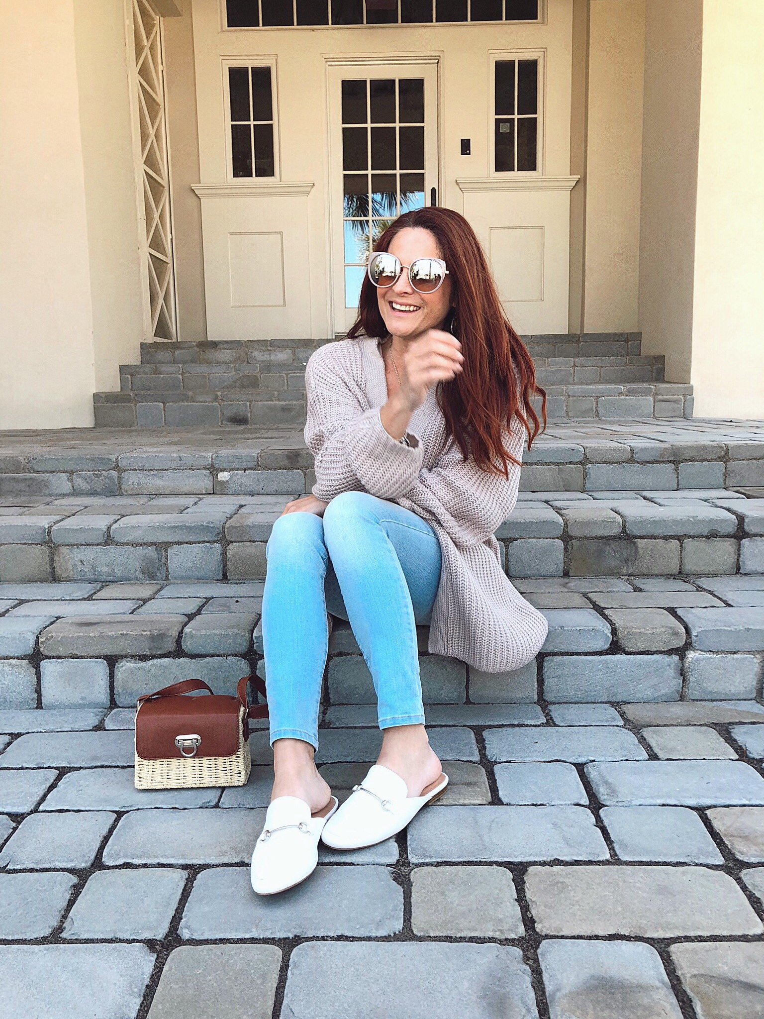 it's not always smiley here, genuine blog posts, how to be authentic on a blog, white mules, cardigan outfits, basket bag