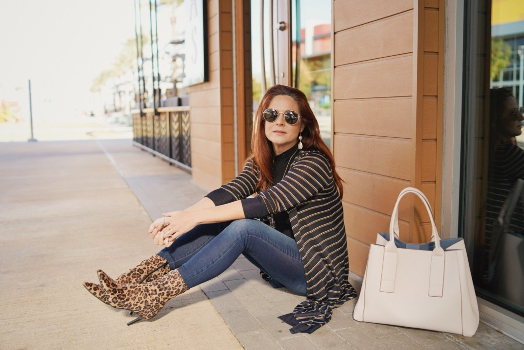 sock boot outfit ideas, striped cardigan