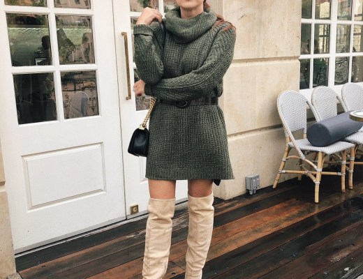 how to wear a tunic as a dress, sweater dress outfits, over the knee boots, black small bag