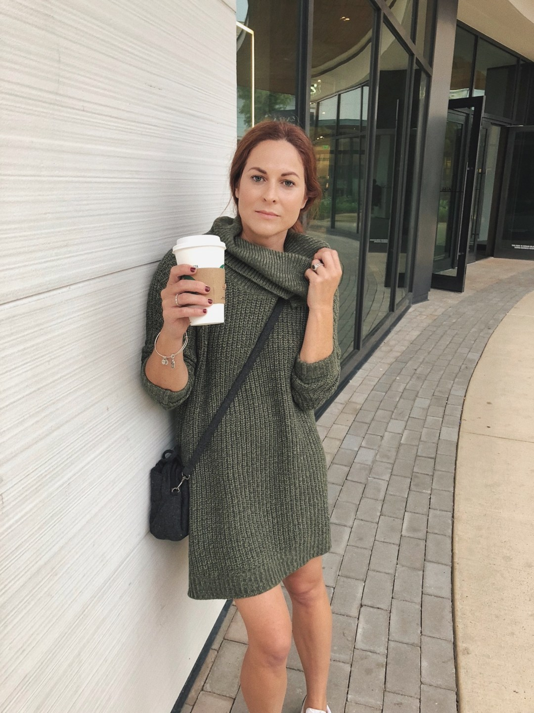 outfits for running errands, casual sweater dress outfits, dress with sneakers, wool crossbody