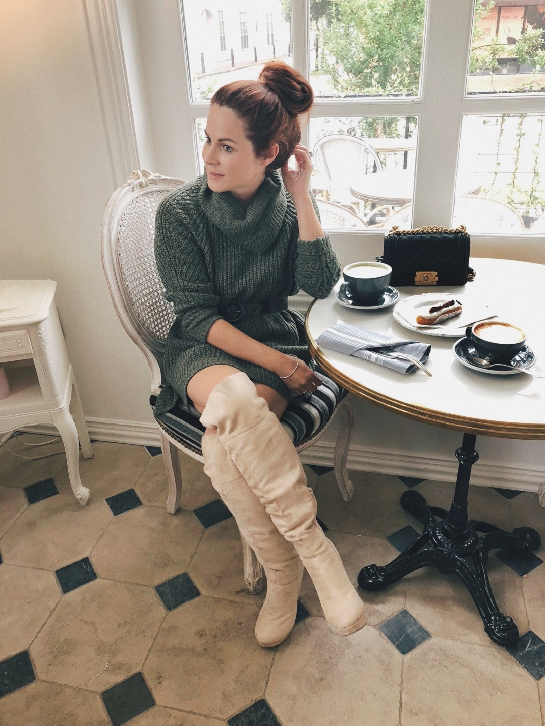 dress and over the knee boots outfits, brunch outfits ideas, turtleneck sweater dresses, french cafe