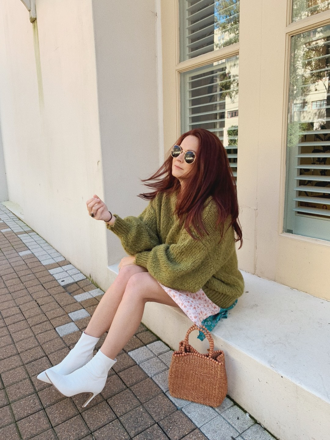 outfit ideas for spring, green sweater outfit inspiration, how to wear white boots, wicker bags