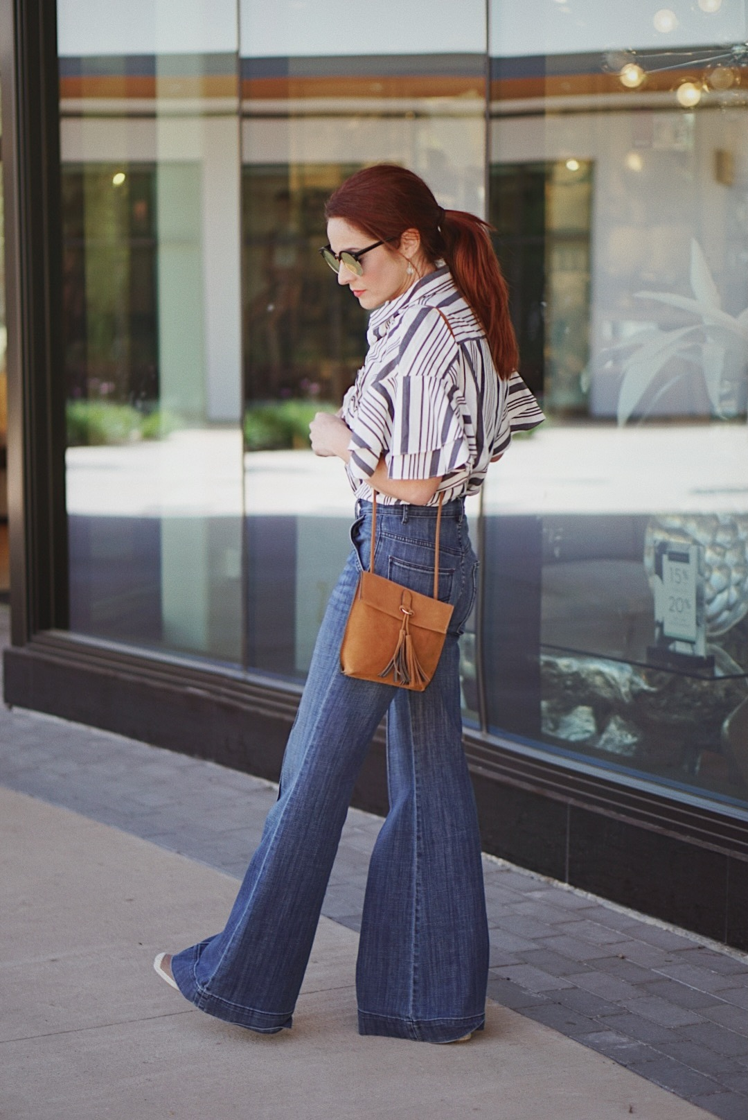 spring fashion, striped tops, flutter sleeves, red hair ideas, flare jean inspiration