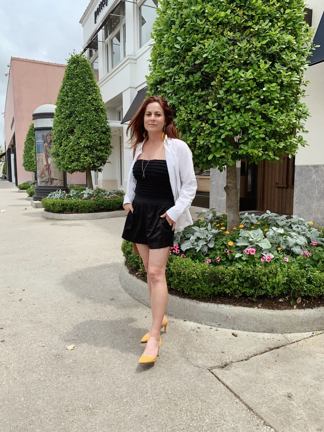 how to style a romper, minimalist style, yellow shoes outfits, white button up shirt outfits