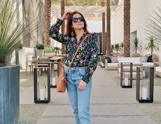 floral top outfit ideas, revere Shoes, how to style a cognac bag, LA style
