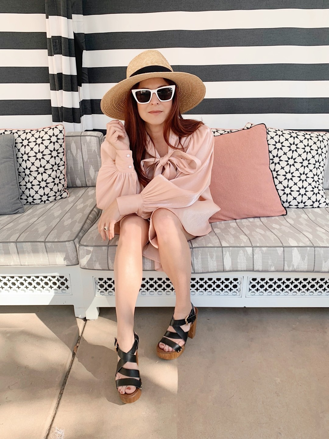 pink cabana, blush dress, resort style, what to wear with clogs,