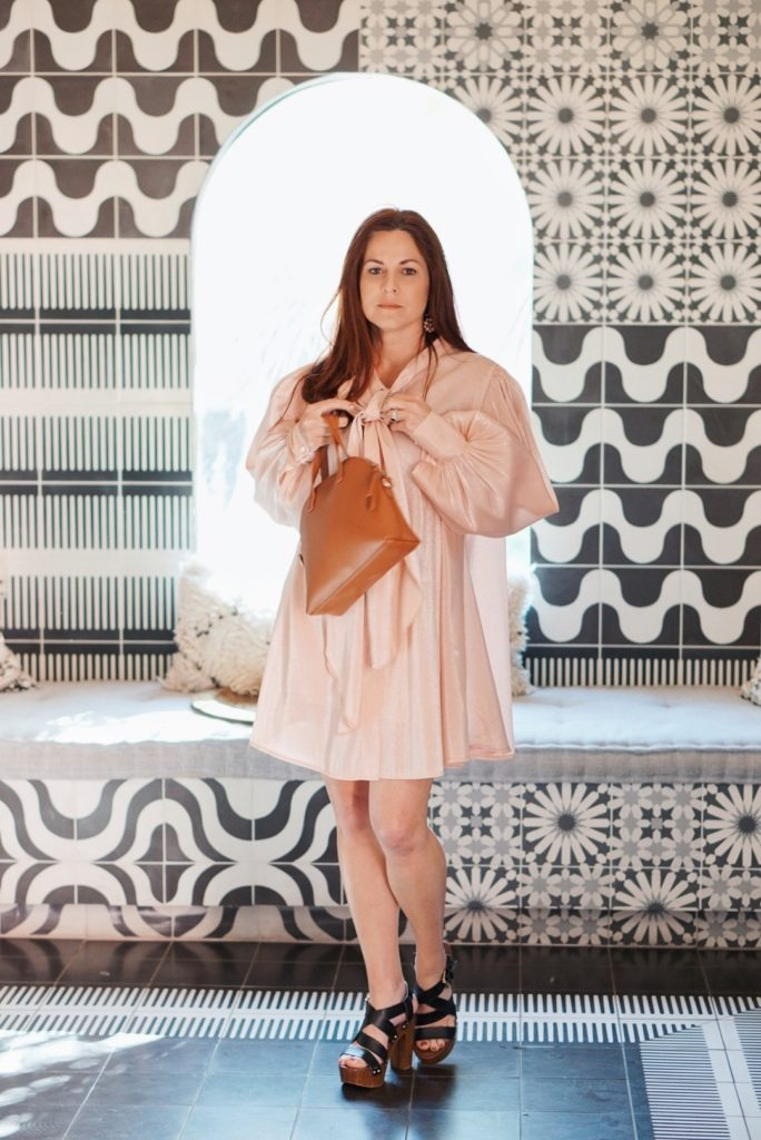 dresses with bows, satin dress outfits, what to wear to a brunch, brunch outfit ideas, Sands Hotel and Spa