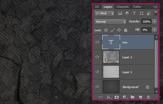 Sparkling Iron Text Effect step 2