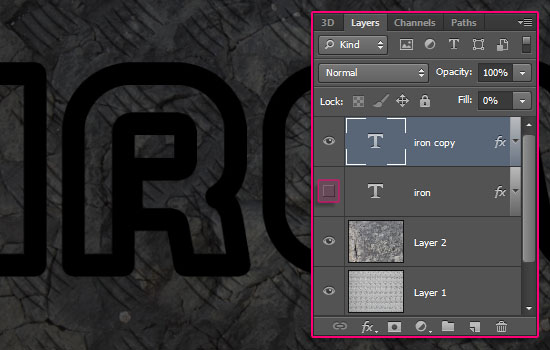 Sparkling Iron Text Effect step 3