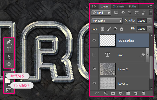 Sparkling Iron Text Effect step 7