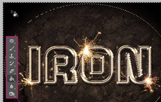 Sparkling Iron Text Effect step 13
