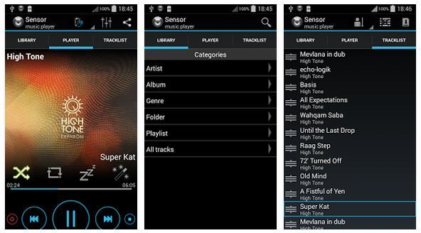 Sensor Music player for android