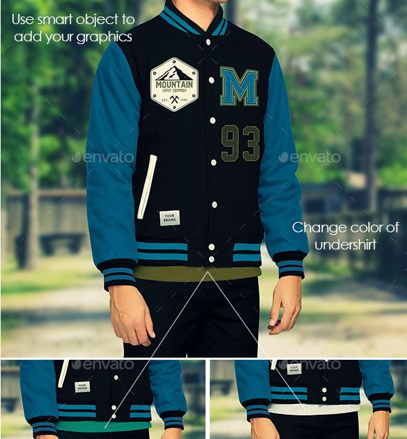 By downloading this mock up you will receive 4 photoshop files showing the letterman jacket in different poses. Jacket Mockup Varsity And Bomber Jacket Templates Psd Texty Cafe