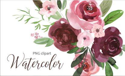 burgundy watercolor flowers clipart pink flower floral clip designs graphics watercolors watercolorflowers source cart