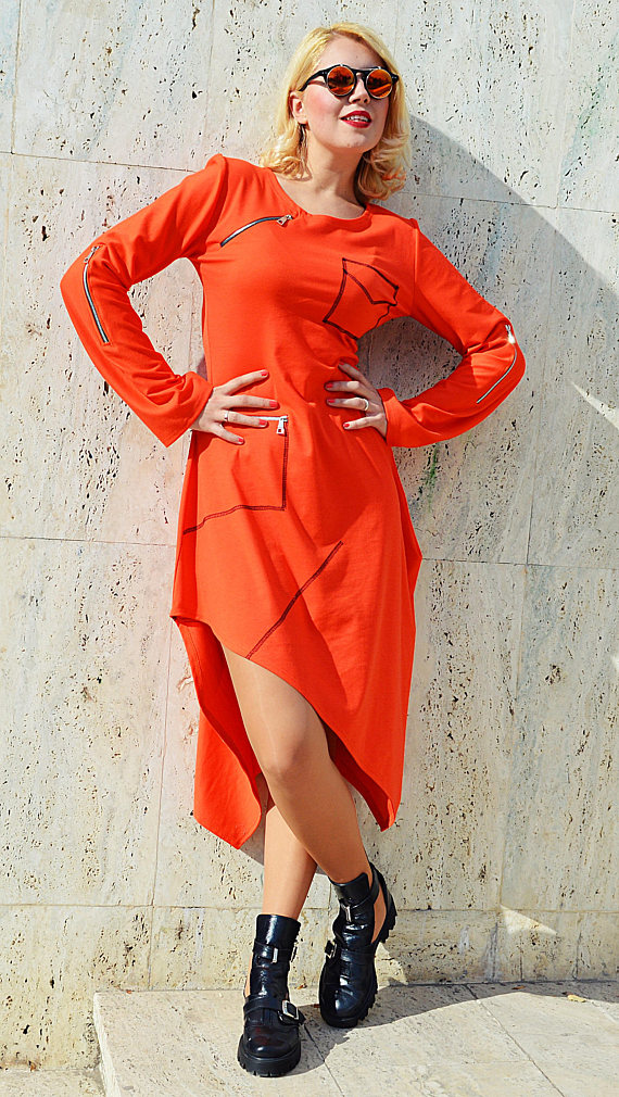 asymmetrical orange dress