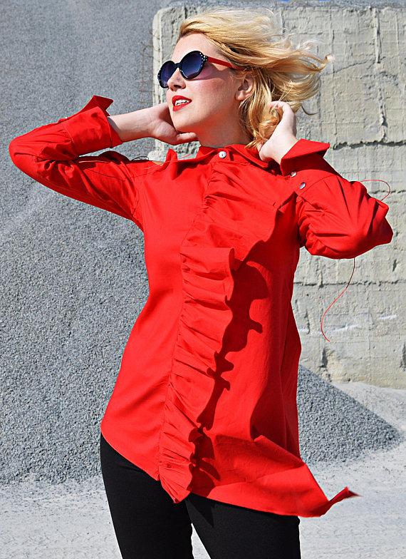 red ruffle top