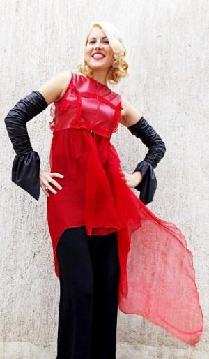 leather silk vest