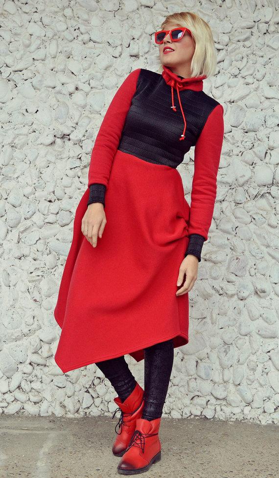 cotton fleece red dress