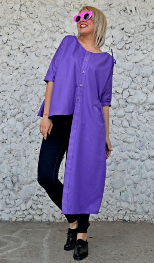 asymmetrical purple tunic