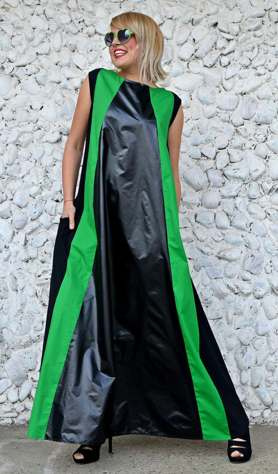 black green maxi dress