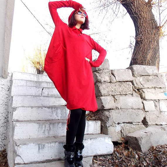 red extravagant tunic