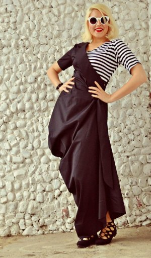 black maxi dress with striped top