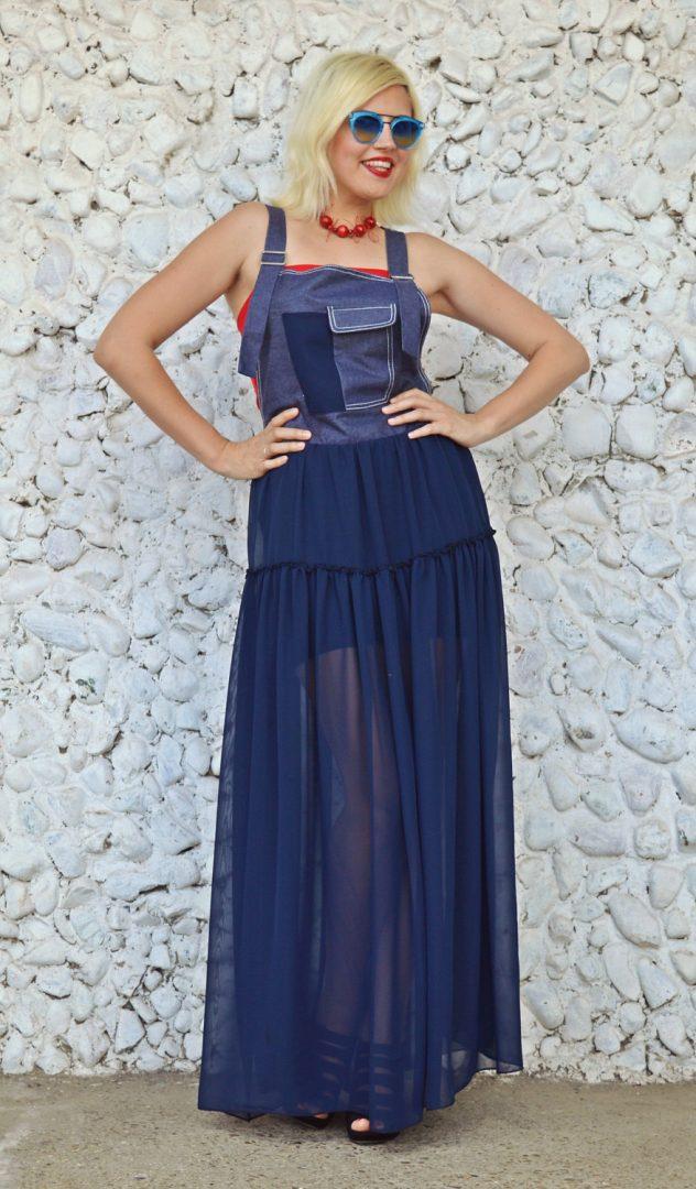 sheer denim navy dress