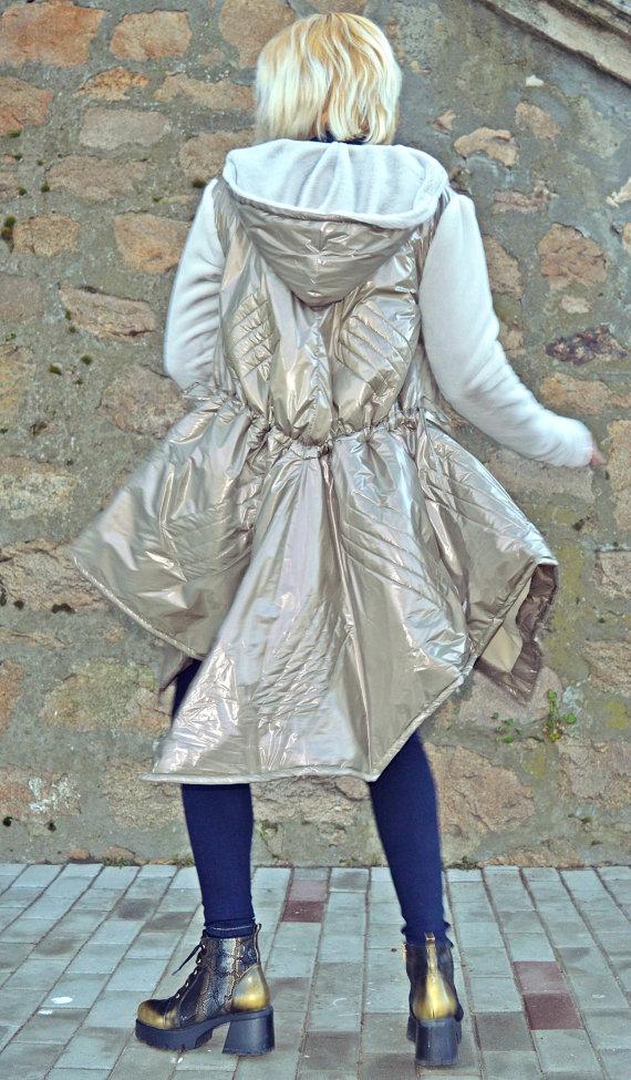 metallic greige padded jacket