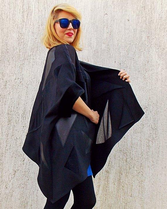 leather block coat