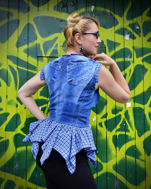 ruffle jean blouse