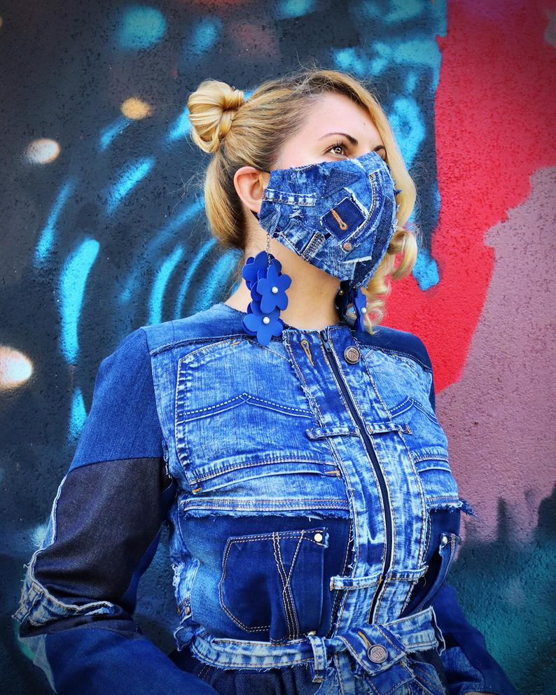 patchwork denim mask