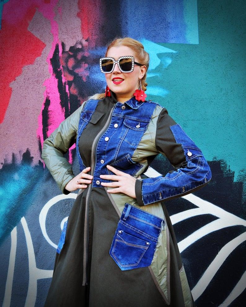 multi fabric coat