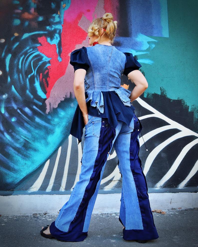 long denim pants