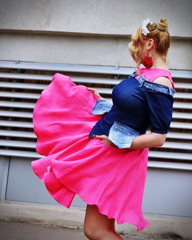 rockabilly jean dress