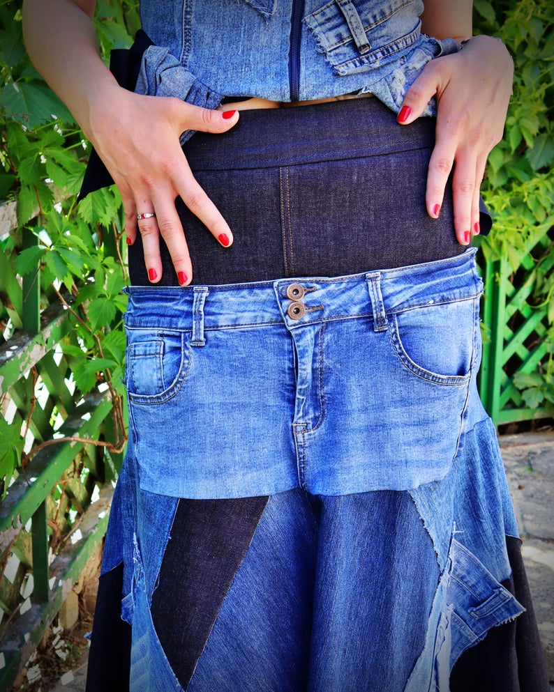 western jean skirt