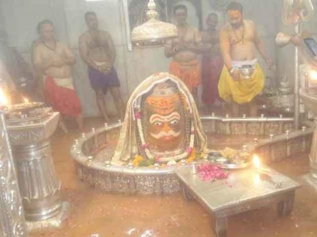 Water reaching sanctum sanctorum of Mahakala
