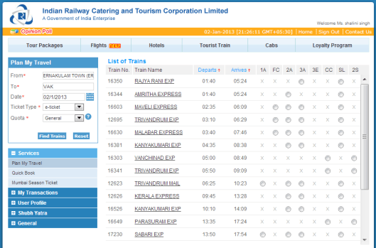 List-of-Trains-IRCTC