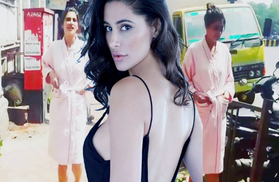 Nargis Fakhri Naked On the streets were without change Wearing a bathrobe and slippers