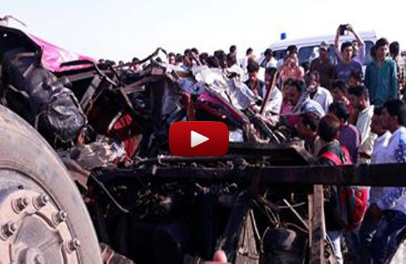 private bus collided with a truck in Dhar district of Madhya Pradesh